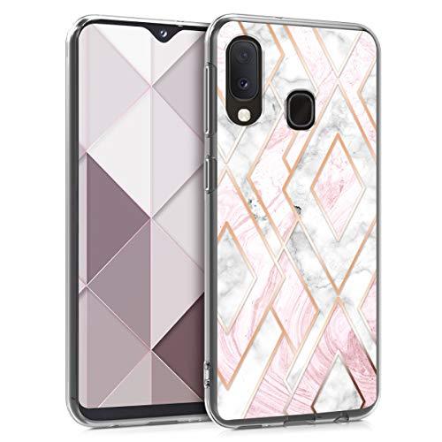 kwmobile Hülle kompatibel mit Samsung Galaxy A20e - Handyhülle - Handy Case Glory Mix Marmor Rosegold Weiß Altrosa