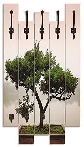 Artland Wandgarderobe Holz Design mit 8 Haken Garderobe Paneel mit Motiv 63x114 cm Asien Natur Baum Zen China Bonsaibaum Asiatisch T9IC