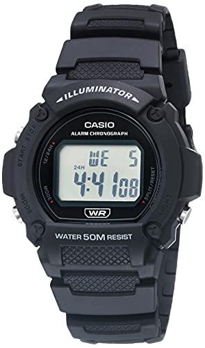 Casio Relógio fitness de quartzo com pulseira de resina, preto, 25,5 (modelo: W-219H-1AVCF)