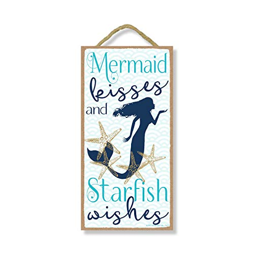 Honey Dew Gifts Mermaid Kisses and Starfish Wishes 5 inch by 10 inch Hanging Wall Art, Decorative Wood Sign Home Decor, Mermaid Sign