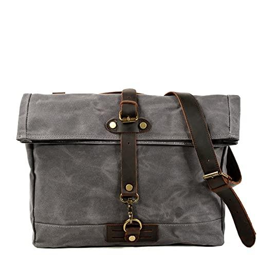 Retro Lienzo Hombro Messenger Bag Hombre Calle Simple Travel Oblique Mochila Tendencia Messenger Bag Casual Men's Bag (Color : Gray)