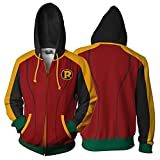 Zip Hoodie Hombres Mujeres Robin Tim Drake 3D Cosplay Anime Hooked Adulto Casual (Color : Red 2, Size : Large)