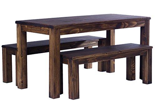 Zitgroep garnituur met eettafel Brasil-meubel 120x80cm + 2 banken 120x38cm massief grenen, geolied en gewaxt, kleur cognac bruin/eiken antiek, optioneel: insteekplaten, het origineel!! !