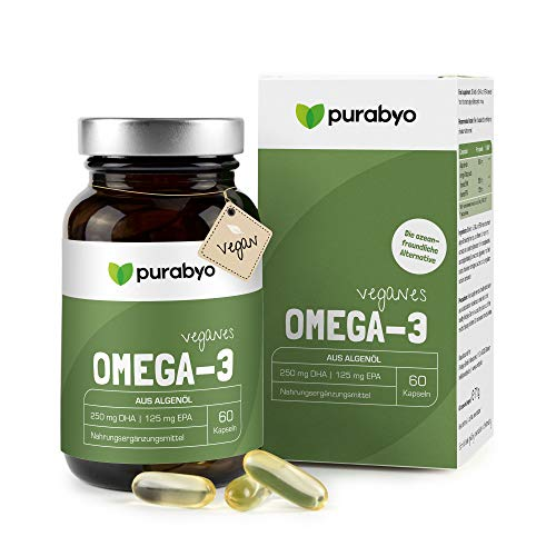 Algenöl OMEGA 3 Vegan | Nur 1 Kapsel täglich | Zwei-Monatsversorgung | Glasflasche statt Plastik | hochdosiert | Hoher EPA Gehalt | 250 mg DHA und 125 mg EPA