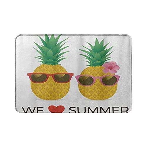 ADONINELP We Love Summer Pineapple,alfombras de baño cuadradas Ultra absorbentes para Interiores y Exteriores fáciles de Limpiar para el hogar,Lavables y Decorativas