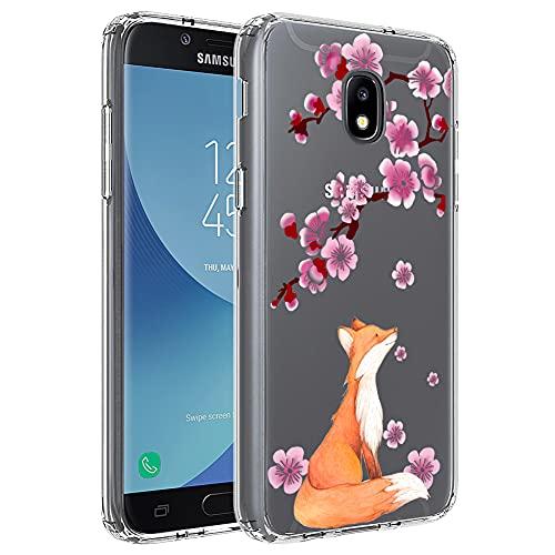 Ftonglogy Clear TPU Fox Cherry Blossoms Design Girls Women Phone Case for Samsung Galaxy J3 Star/J3 2018/J3 Orbit/J3 Achieve/J3 Prime 2/J3 Emerge 2018/Amp Prime 3/J3 Eclipse 2/Sol3/J3 Aura