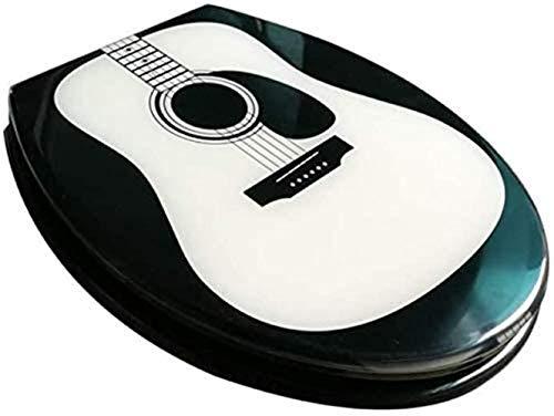 Asientos de Inodoro Estándar Asiento de inodoro linda tapa del inodoro de la guitarra con Slow abajo de urea-formaldehído Resina Top Ultra resistente fijo U / V / O Forma Compatible WC la cubierta de