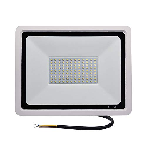 FAMURE 100W LED Flood Light, 10000LM 6000-6500K Daylight White, IP67 120° SMD2835 Security Lights, Waterproof Super Bright Outdoor Floodlight for Garden Yard, Lawn, Playground, Basketball Court (100W)