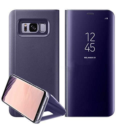 Funda para Samsung Galaxy, de piel con espejo, compatible con Samsung Galaxy S7/S7e, Samsung Galaxy S8/8+/Samsung Galaxy S9/S9+, Samsung Note 8, morado