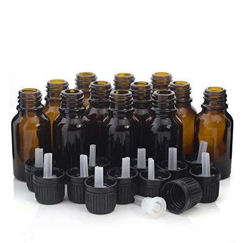 NLLeZ 12pcs 15 ml Botella de gotero de Vidrio ámbar Recargable de 15 ml con Reductor de Orificio Tapón evidente para el petróleo Esencial Aromaterapia (Color : Amber, tamaño : 15ml)