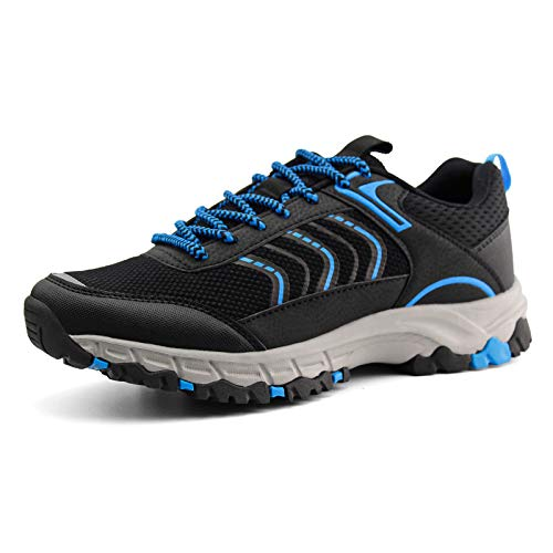 JABASIC Womens Hiking Shoes Lightweight Outdoor Trekking Knit Shoes (7,Black/Blue)