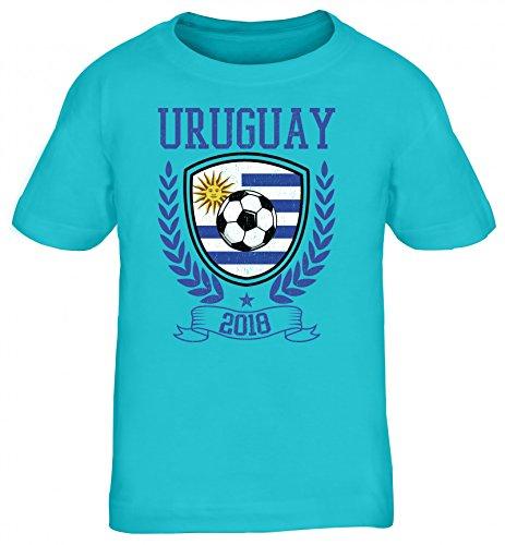 Wappen Fußball WM Fanfest Gruppen Fan Kinder T-Shirt Rundhals Mädchen Jungen Pokal Uruguay 2018, Größe: 110/116,türkis