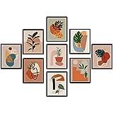 Botanical Print Set Minimalist Wall Art - Line Art and Boho Wall Decor - Aesthetic, Minimalistic Plant Prints - Mid Century Botanical Print Set 9 pcs - Abstract, Modern Room Posters (9 Pcs , UNFRAMED)