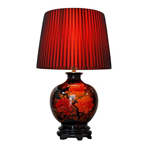 Lámpara de mesa de noche Lámpara de mesa de noche de cerámica de estilo chino con esmalte de oro negro Peonía Pantalla plisada de cerámica roja Lámpara de mesa de cerámica roja de estilo chino Lámpar
