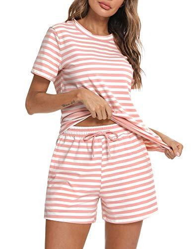 Aibrou Conjuntos de Pijama, Pijamas Mujer Manga Corta en Cuello Redondo, Conjunto Dormir Mujer Algodón Mujer Pijamas de Rayas Cómodo Loungewear per Hogar Casual Rosado M