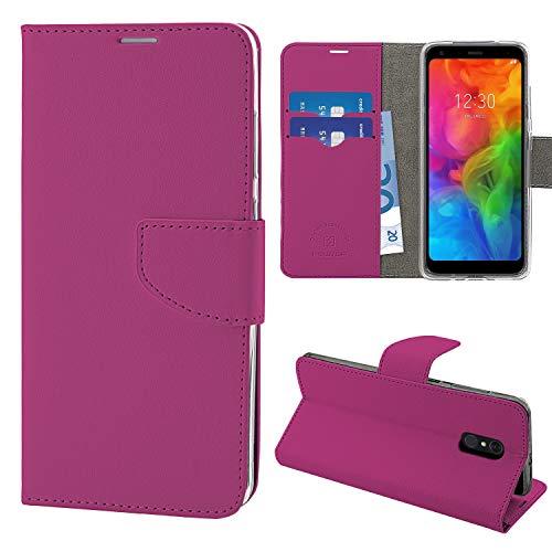 N NEWTOP Cover Compatibile per LG Q7, HQ Lateral Custodia Libro Flip Chiusura Magnetica Portafoglio Simil Pelle Stand (Fucsia)