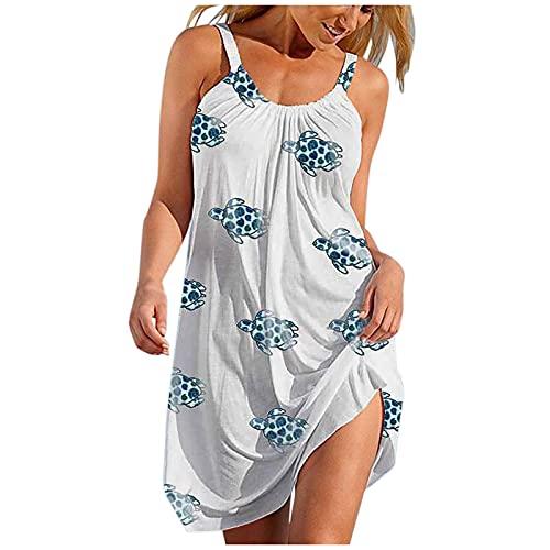 HHWY Vestido bohemio con estampado de verano, sexy, largo hasta la rodilla, cuello redondo, vestido de fiesta para mujer, elegante, para boda, corto, festivo, chicas, vestido bohemio., Blanco3, XL