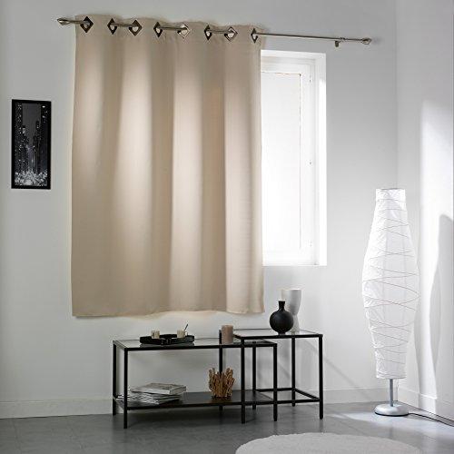 douceur d'intérieur 1604448 Cocoon Rideau avec Oeillets Occultant Polyester Naturel 135 x 180 cm