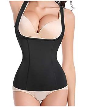 Gotoly Women s Body Shaper Waist Cincher Underbust Corset Bodysuit Shapewear  Black Medium