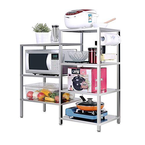 ZSY 4-Tier+3-Tier Stainless Steel Kitchen Rack, High Capacity Utility Storage Shelf Microwave Stand, Non-Slip Heat-Resistant