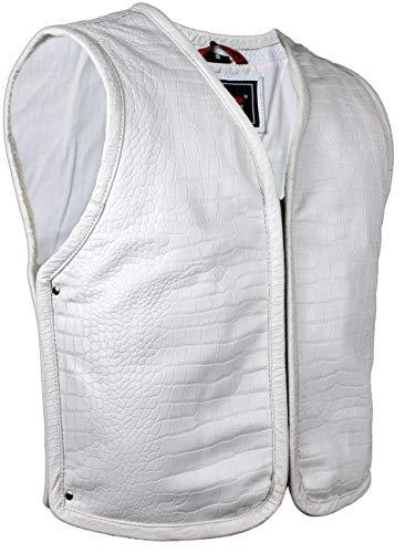 MDM Motorrad Leder Kutte in Schwarz oder Weiß aus echtem Leder (XL, Weiß)