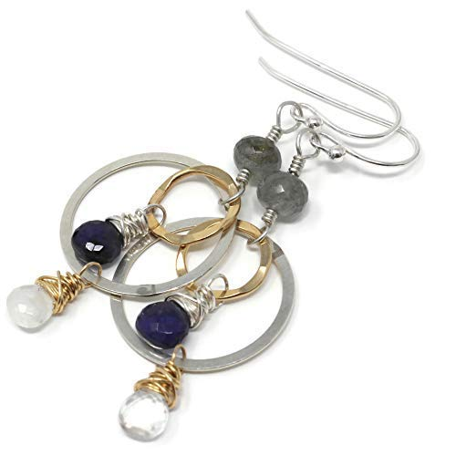 Gemstone Earrings Mixed 100% quality warranty Metal Sterling Gold Direct sale of manufacturer Silver Filled Circle