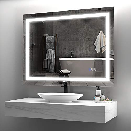 ANTEN 36x28 Inch Bathroom LED Mirror, Horizontal & Vertical Bathroom Mirror with Lights, Dimmable Touch Switch, Anti-Fog Modern Bathroom Mirrors for Wall