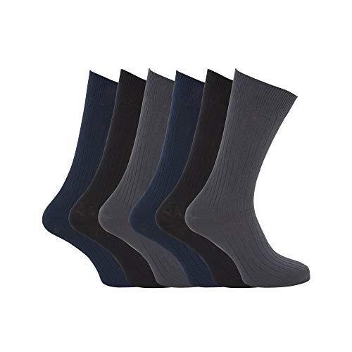 Universaltextilien Herren Strümpfe/Socken, 100prozent Baumwolle, gerippt, 6er-Pack (39-45 EU) (Schwarz/Grau/Dunkelblau)