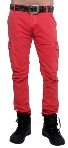 Rockstar Sushi Men's Brick Red Cargo Pants Red 36