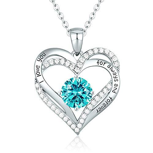 CDE Collares de Corazón para Mujer de Plata 925 Collares Colgante de Mujer Colgante de Diamantes Niña, con Caja Regalo, Regalo para Día de la Madre Esposa y Novia Celeste