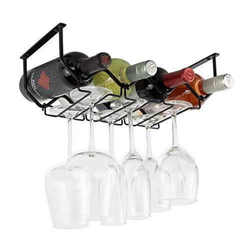 Botellero y soporte para copas de vino: soporte para debajo del armario y estante para vino (acero inoxidable negro)