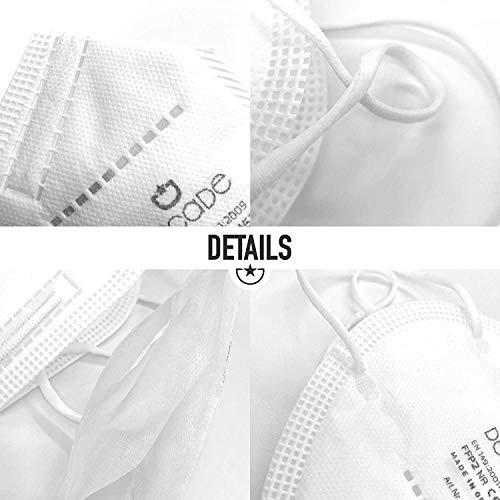 """10x FFP2 Mundschutz Maske – Test: """"SEHR GUT"""" DECADE Maske 4 Lagig – Made in Germany - Mund und Nasenschutz, Einmalmasken EINZELVERPACKT Maske N95 Schutzmaske KN95 - 5"""
