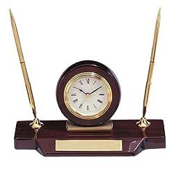 Customizable Quartz Clock and Metal Pen Set, High Gloss Rosewood Finish, Includes Personalization
