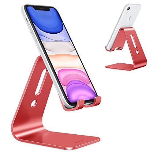 OMOTON Soporte Móvil Mesa, Soporte Teléfono de Escritorio, Base Móvil de Aluminio para iPhone 12 Pro MAX 12 Mini 11 SE Xiaomi Redmi 9 9S 8 Pro, Samsung, Huawei, iPad Mini y Otras Smartphones, Rojo