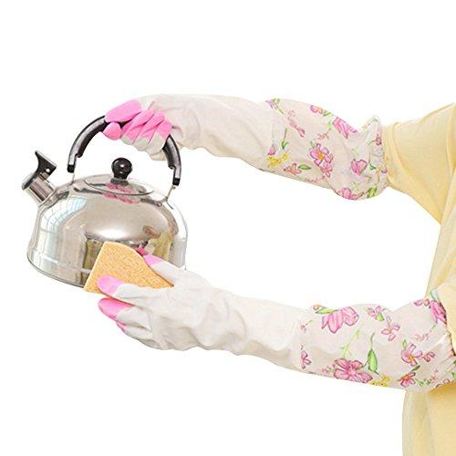 hugestore Femme Fleurs en caoutchouc gants gants de ménage Vaisselle Gants Gant de protection Rosa