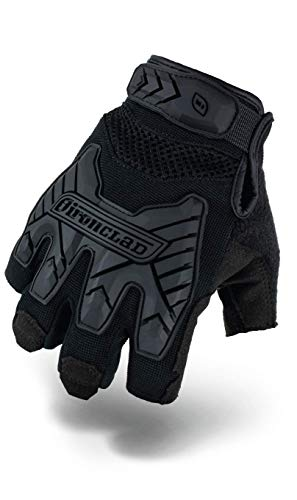 Ironclad Tactical Impact Fingerless Gloves, TAA Compliant, Best for Military, Law Enforcement, Airsoft, Paintball, Machine Washable, Sized S, M, L, XL, XXL (1 Pair), Black, Medium (IEXT-FIBLK-03-M)