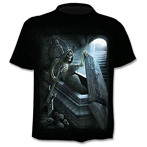 Blue and White Reflections Body Donna Maniche Corte Skull Man T-Shirt from The Axe Coffin Male 3DT Shirt Short Sleeve Round Neck Digital Printing Casual Short Sleeve-Color_6XL