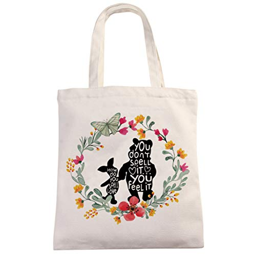 Chillake Inspirational Winnie The Pooh Quote Natural Cotton Canvas 12 Oz Reusable Hand Made Tote Bag - Cute Winnie The Pooh Theme Tote Bag Gifts for Kids Boys Girls