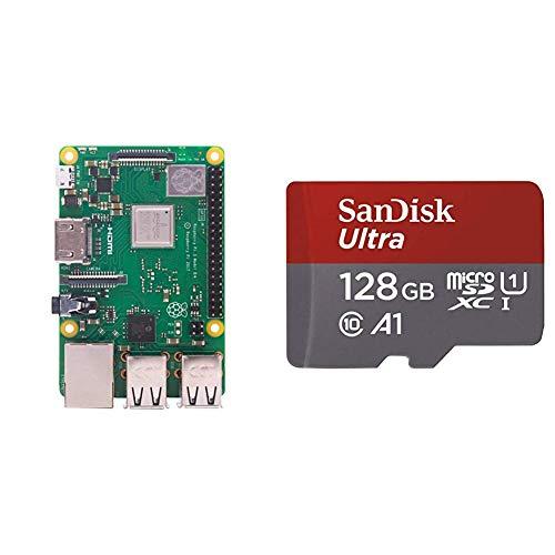 Raspberry PI 3 Model B+ - Placa de Base + SanDisk Ultra - Tarjeta de Memoria microSDXC de 128 GB con Adaptador SD, Velocidad de Lectura hasta 100 MB/s, Clase 10, U1 y A1