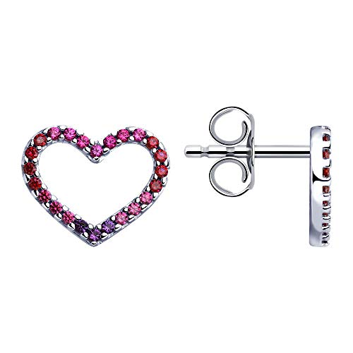 925 Silver Stud Heart Earrings with Corundum and Cubic Zirconia