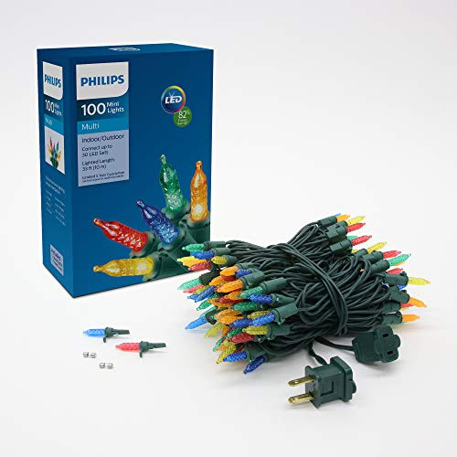 Philips 100 LED Multi Colored Faceted Mini Christmas Lights, Green