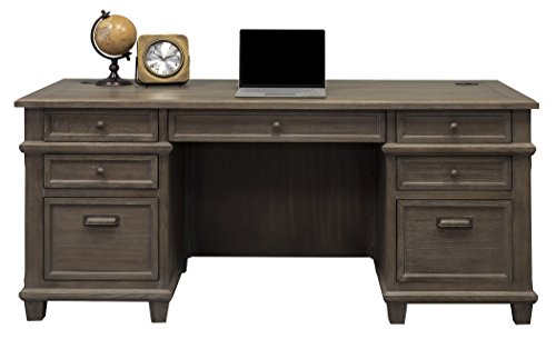 Martin Furniture Double Pad Desk, 68', Weathered Dove