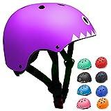 Casco Bicicleta para Niños Casco Infantil Ajustable para Monopatín Patinaje BMX Esquiar, Casco para multibles Deportes niño niña de Edad de 3-13 años (Púrpura, Small)