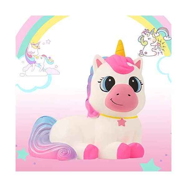 Anboor 9.1 Inches Squishies Giant Unicorn Horse Jumbo Kawaii Soft Slow Rising Scented Animal Squishies Stress Relief Kid… 6