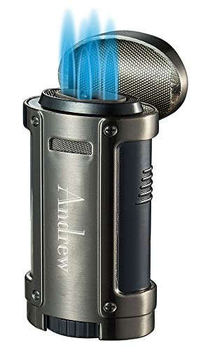 Personalized Visol Rhino Gunmetal Quad Flame Torch Cigar Lighter with Free Laser Engraving ([C] Text)