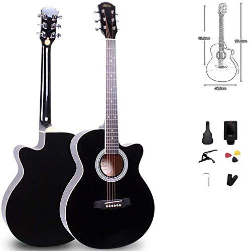 Guitarra eléctrica Guitarra acústica de 40 pulgadas portátil principiantes Cutaway Guitarra Viajes...