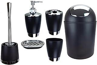 Jeu de 6accessoires de salle de bain Dont distributeur de savon, brosse de WC et porte-brosse Noir