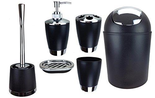 GMMH 6tlg BADSET Badezimmer ZUBEHÖR Set SEIFENSPENDER Halter WC BÜRSTE BADGARNITUR (schwarz)