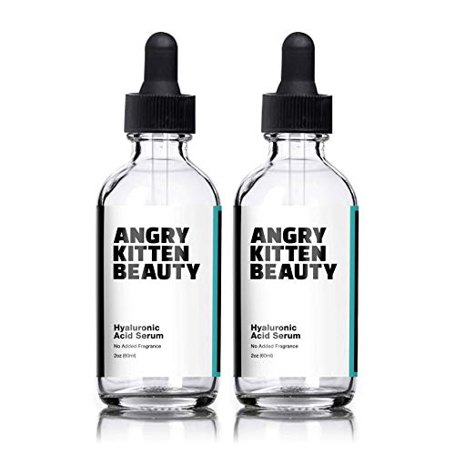 Hyaluronic Acid Serum for Skin—Double Pack 2 Fl Oz Bottles, 100% Pure Anti-Aging Serum, Anti-Wrinkle, Collagen-Enhancing All-Day Moisturizer, Helps to Reduce Dry Skin and Fine Lines
