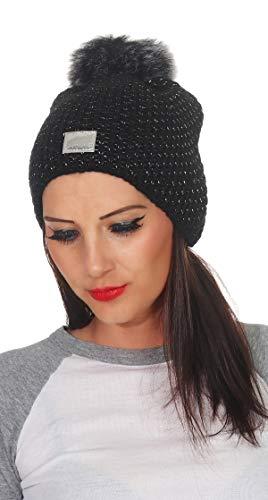 CLEOSTYLE Damen Wintermütze mit Kunstfellbommel Strickmütze Fleece 15 (Schwarz)